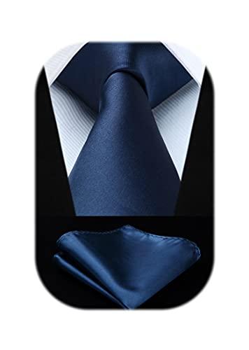 ビジネス ネクタイ チーフ セット メンズ ネイビー 無地 ブランド 結婚式 入学式 卒業式 プレゼント TL201V8S by HISDERN(ヒスデン)