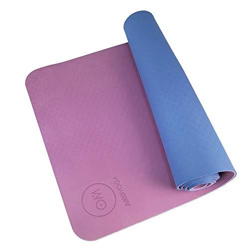 Yogamatte TPE, rutschfest, leicht, super Dämpfung und Grip, TPE Yogamatten für Yoga, Pilates, Fitness und Sport, 183 x 61 cm, 6mm, antirutsch Yoga Matte für Anfänger und Fortgeschrittene von AKO-Yoga