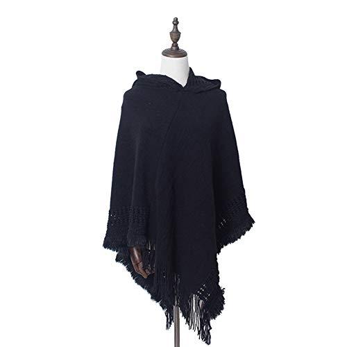 Amorar Damen Winter Schal Strick Cap Umhang Einfarbig Rollkragen Cape mit Kapuze Poncho Large Schal Pullover Top Hijab Cardigan Cape,EINWEG Verpackung