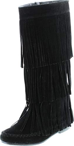 REFRESH JOLIN-02 Women's Fringe Moccasin Knee High Boots Black 9