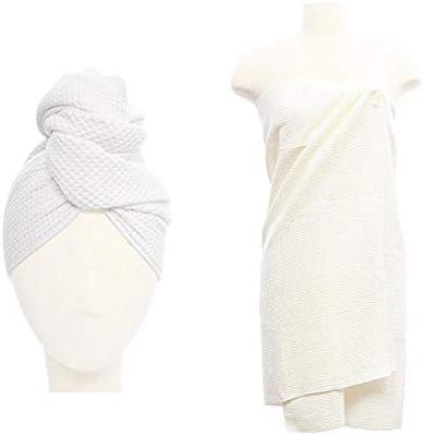 Aquis Original Microfiber Waffle Towel Set One Hair Towel 19 x 39 and One Body Towel 29 x 55 product image