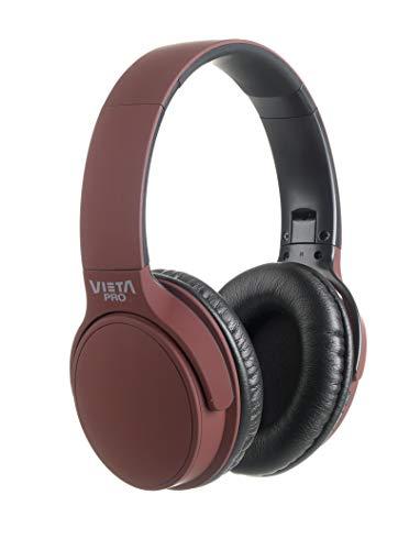Vieta Pro Way – Auriculares inalámbricos (Bluetooth, radio FM, micrófono integrado, entrada Auxiliar, reproductor Micro SD, plegables, autonomía 40 horas) grana