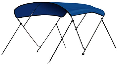 """Leader Accessories Pacific Blue 3 Bow 6'L x 46"""" H x 67""""-72"""" W Bimini Top Cover 4 Straps for Front and Rear Includes Mounting Hardwares with 1 Inch Aluminum Frame"""