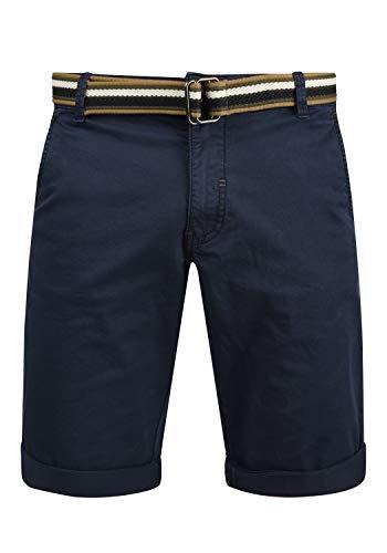 Blend Bruno Herren Chino Shorts Bermuda Kurze Hose Mit Gürtel Regular Fit, Größe:M, Farbe:Navy (70230)