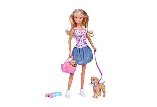 Simba 105733310 - Steffi Love Puppy Walk / mit erwachsendem Hund und Welpe / mit Tragetasche und Hundezubehör / Ankleidepuppe / 29cm, für Kinder ab 3