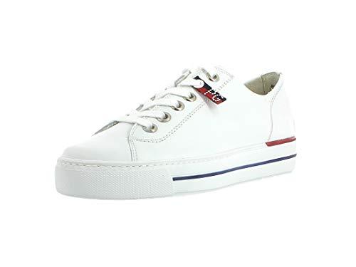 Paul Green Damen Sneaker 4760, Frauen Low-Top Sneaker, Halbschuh strassenschuh schnürer schnürschuh sportschuh Plateau-Sohle,White,37 EU / 4 UK