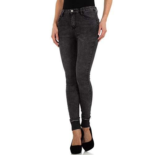 Preisvergleich Produktbild Ital-Design HIGH Waist Skinny Jeans Laulia Gr. M / 38 Dunkelgrau