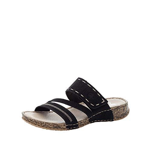 Rieker DAMES Sandalen 61150, Vrouwen Strappy Sandalen,sandaal,zomerschoen,zomersandaal,comfortabel,vlak,Zwart (schwarz / 01),42 EU / 8 EU