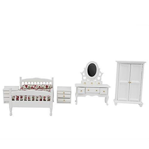 Casa de muñecas de madera, kit de casa de muñecas para aliviar el estrés y el sentido del logro, dormitorio no tóxico y de seguridad para niños para adultos en casa(5-piece room furniture set)