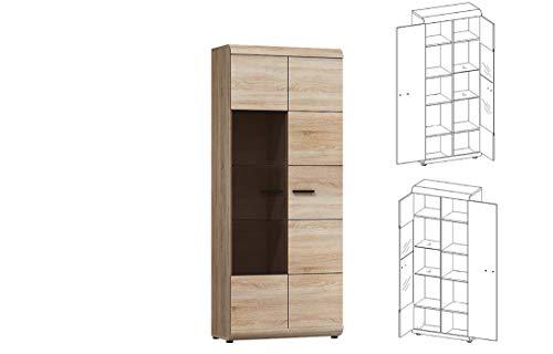 Furniture24 Vitrine LINK, Standvitrine, Wohnzimmerschrank, Vitrinenschrank mit 2 Türen (Ohne Beleuchtung)
