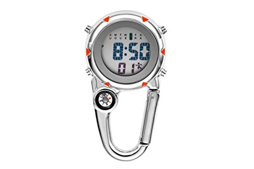 Clip on Quartz Watch with Compass, Jhua Multifunctional Belt FobWatch DigitalPocket Watch with Backlight/Calendar/Alarm Clock/Stopwatch Function for Doctors Nurses Outdoor Rock Climbing Activities