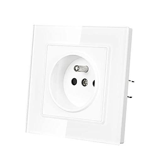Enchufe Toma de corriente de pared 16A 220V 82mm * 82mm Panel de cristal blanco con puerta de seguridad Outlet eléctrico
