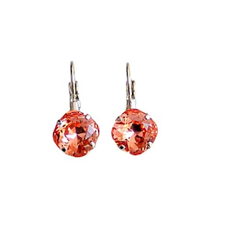 Rose Peach 10mm Diagonal Square Cushion Cut Crystal Hypoallergenic Rhodium Plated Simple Drop Dangle Leverback Earrings Gift Idea