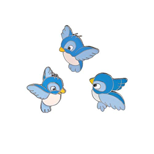 Rrunzfon 3pcs / Set del Novato pájaro Azul Lindo del Pin del Vuelo de la Historieta Animal de la Broche Denim Jacket Hebilla Camisa Regalo Insignia para la joyería de Moda Retro de los niños