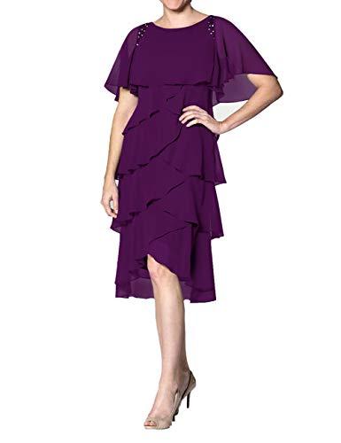 Abendkleid Kurz A-Linie Cocktailkleid Ballkleid Chiffon Übergröße Brautmutterkleider Festkleider mit Ärmel Traube 46