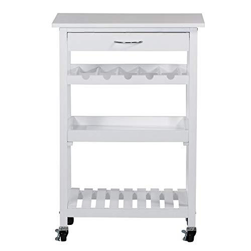 Rolling Wooden Pine Kitchen Storage Utility Cart on Wheels 4-Tier with Drawer, Removable Serving Tray, Open Shelf and 5-Bottle Wine Rack, White