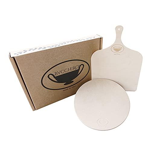 pietra refrattaria italiana Bucchero® - Set Pietra Refrattaria per Cucina + Ricettario + Pala in Legno per Pizza