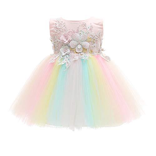 TAAMBAB Cute Bébé Robes de Baptême sans Manches Brodé Fleurs 3D en Dentelle Tutu Princesse Robe - Baby Filles Cérémonie Mariage Fête d'anniversaire Robes