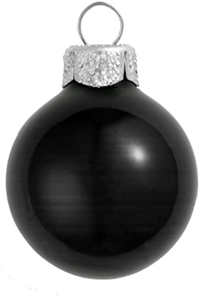 8ct Shiny Black Glass Ball Christmas Ornaments 3 25 80mm