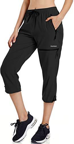 Ksmien Women's Lightweight Hiking Capri Pants Quick Dry Workout Cargo Capris Water Resistant UPF 50+ Zipped Pockets Black