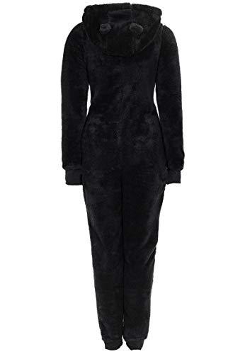 Eight2Nine Damen Jumpsuit aus kuscheligem Teddy Fleece | Overall | Ganzkörperanzug mit Ohren black1 S/M - 4
