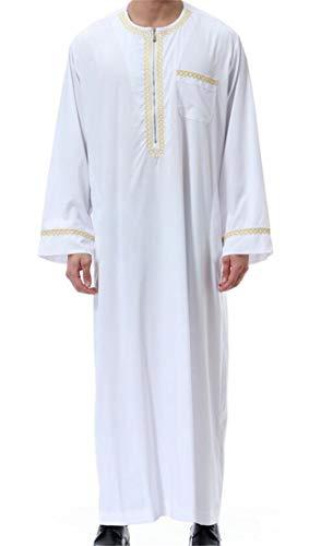 X-Future – Vestido masculino básico de Abaya muçulmano árabe islâmico do Oriente Médio, Branco, XL