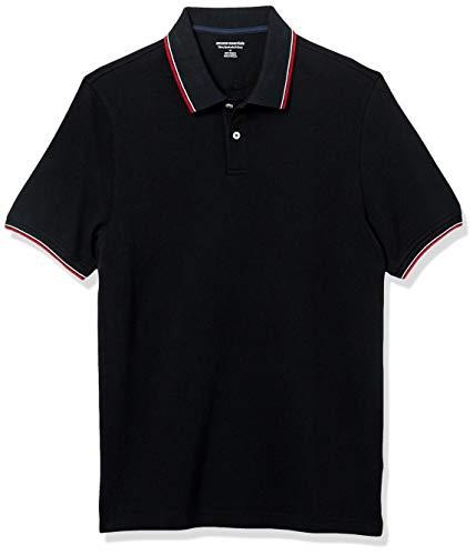 Amazon Essentials Slim-Fit Cotton Pique Tipped Polo-Shirts, Schwarz/Weiß und Rot, US XXL (EU XXXL-4XL)