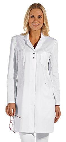 clinicfashion 10314009 Damen Mantel weiß, Reverskragen, Mischgewebe, Größe 36