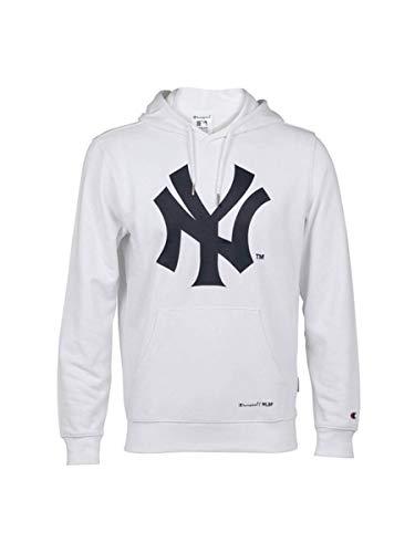 Champion Felpa Uomo garzata New York Yankees MLB, 214631 (White/Blu, S)