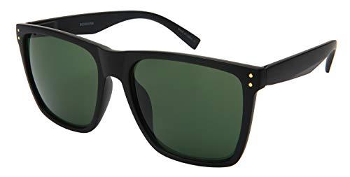 Extra Large Rectangular Wide Frame Polarized Sunglasses for Big Head Spring Hinge 154MM (MXXL-001P-9)