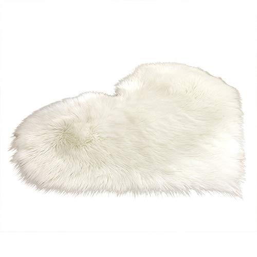 1 alfombrilla para sofá con diseño de corazón de imitación de lana de Peach de color blanco