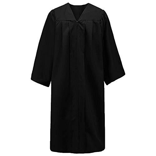 TopTie - Graduación Toga con Cremallera para Adulto, Batas de Coro Unisex para Graduación -Negro-60