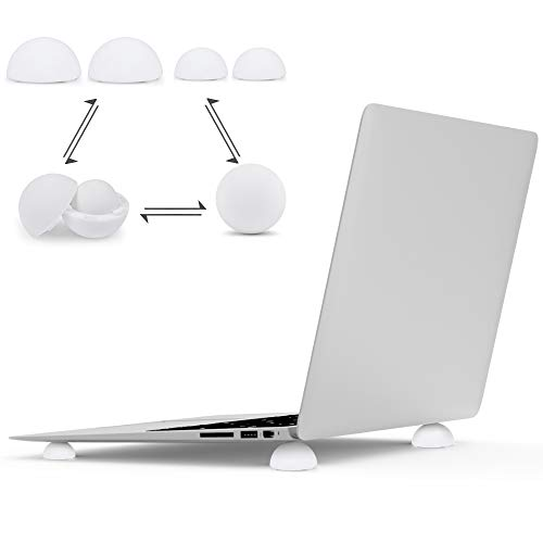 Laptop Stand,Keyboard/Computer Laptop Holder Cooling Ball Riser 4-in-1,Laptop Stand for Bed,Desk,Lap,Portable Elastic Universal Silicone Airflow Mini Cooler Stand for All Laptop Notebook(White)