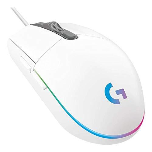 Mouse Gamer Logitech G203 LIGHTSYNC RGB, Efeito de Ondas de Cores, 6 Botões Programáveis e Até 8.000 DPI - Branco
