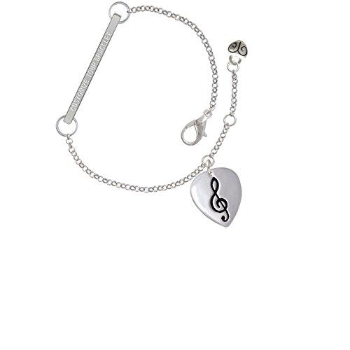 Large Clef on Guitar Pick Custom Engraved Delicate Bar Bracelet
