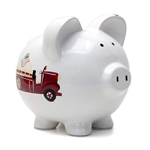 Child to Cherish Ceramic Piggy Bank for Boys, Fire Truck