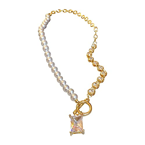 N\C Thick Chain Necklaced Buckle Pearl Rhinestone Chain Necklace Ladies Stitching Short Necklace 45,5 cm