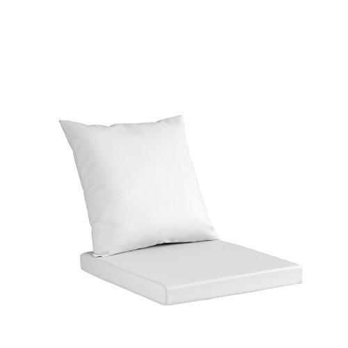 MIS.50X50 BLANC Set Merida en tissu polypropylène coussin pour sedia-panca-divanetto- en tissu hydrofuge anti-tache et intérieur en polyuréthane H. 8 cm. + coussin dossier avec intérieur en ouate –