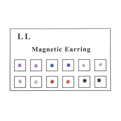 JIUYECAO Pendientes magnéticos para nariz, sin agujeros, con imán de cristal, 12 unidades, para nariz, labio, labio, falso tramposo, no perforación, 3 mm, pendientes magnéticos