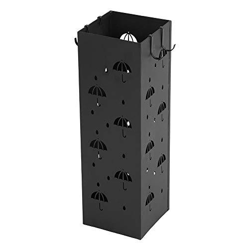 Cikonielf - Paragüero de diseño creativo (hierro, con ganchos, decoración para casa, oficina, entrada hotel Store, negro, 49 x 15,5 x 15,5 cm)