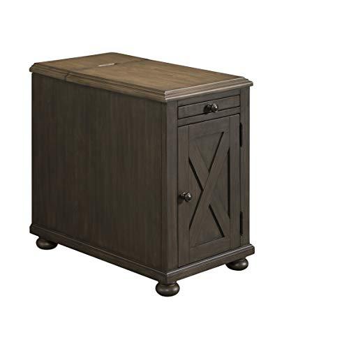 Lane Home Furnishings Power Chairside Table, Black base, brown top