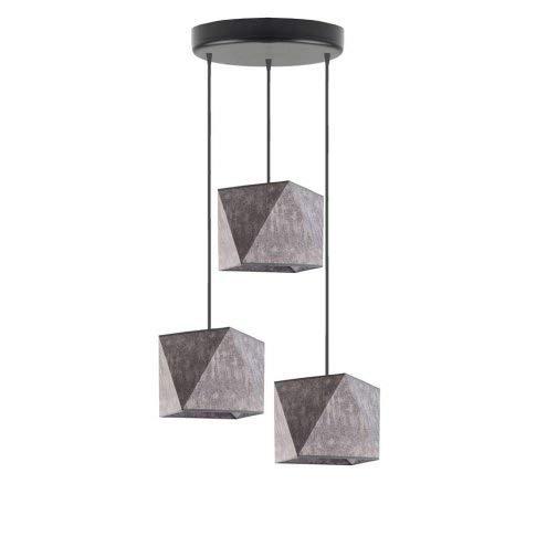 Lámpara de techo de tela MAJORKA Pantalla de lámpara Gris Melange Marco Negro