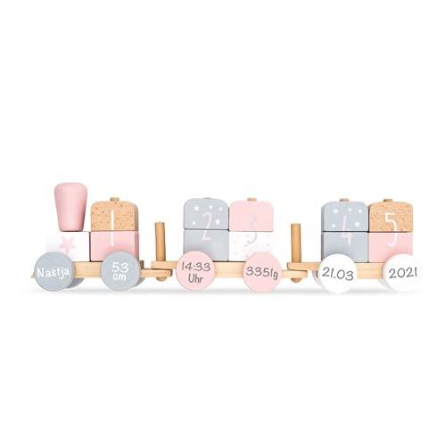 Babygeschenk zur Geburt - Personalisierte Holzeisenbahn Holzzug mit Steckformen rosa/weiß | Jollein | Personalisiert mit Geburtsdaten und Namen