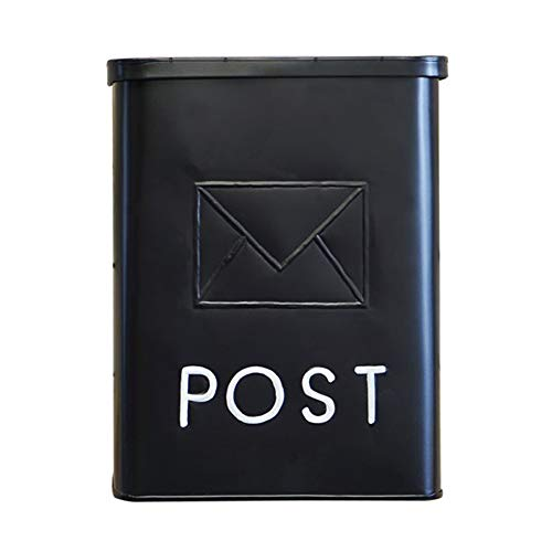 NACH Serena Traditional Classic Post Wall Mounted Galvanized Metal Mailbox, Black, 10.5 x 4 x 14 inches, Max Rust Protection, UH-1002BLK by North American Country Home
