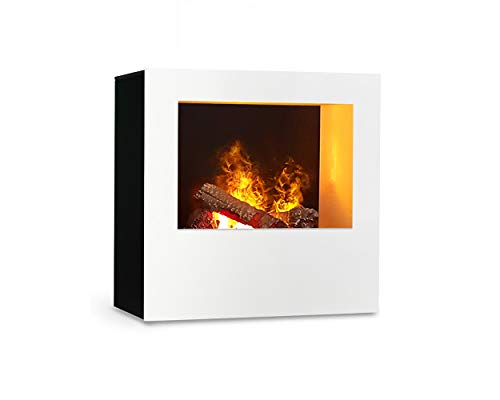 Magma infraroodhaard (wit/zwart), verwarmbare elektrische kachel met Optimyst vlamsimulatie