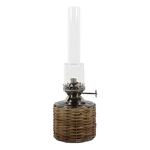 Petroleumlampe TUBUS aus rundem, transparentem Glas mit Holzgeflecht, Höhe 25 cm, Durchmesser 8 cm, Inhalt 0,3 l, Leuchtdauer ca. 22 Std, vernickelter Brenner, Gewicht 0,45 kg