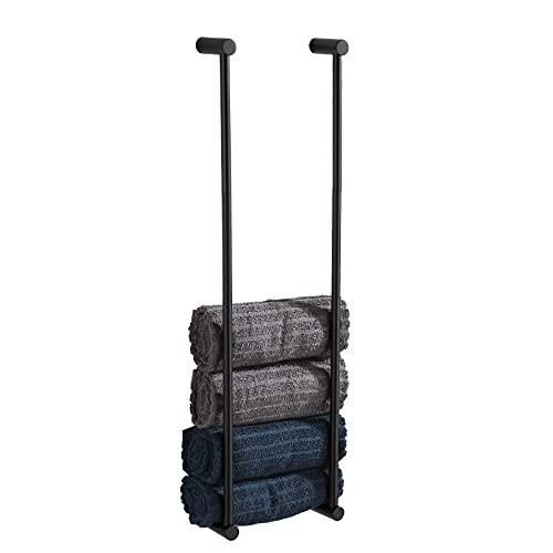 BVL Handtuchhalter Schwarz, 2 Stück Handtuchhalter Edelstahl, 60CM Handtuchhalter Wand für Badezimmer Storage Organizer