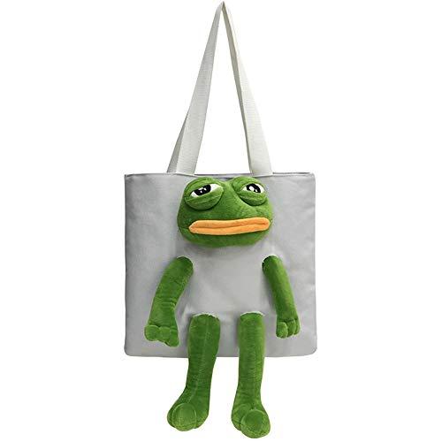 Schultertasche Handtasche Schulranzen Rucksack mit Frosch Plüsch Puppe Dekor Canvas Täglich Tasche für Casual Reisen Shopping, Weiá (weiß), Einheitsgröße