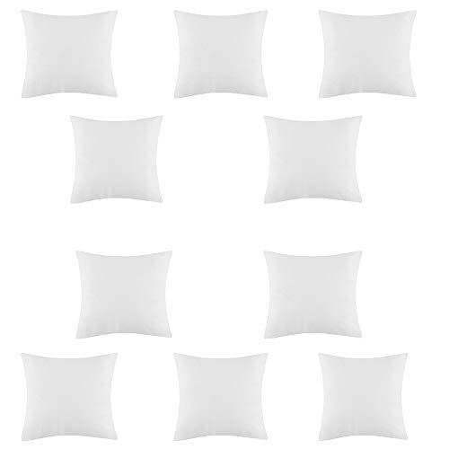 Set of 10 Hypoallergenic Cushion Pad Stuffer Pillow Hollowfibre Square Sham White Bounce Back 22' x 22' (55 x 55 cm)