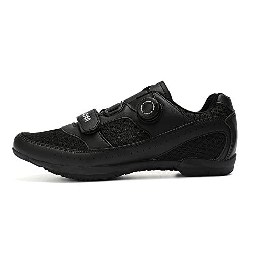 CHUIKUAJ Zapatillas de Ciclismo Hombre Mujer Spin Shoestring Zapatillas de Ciclismo Antideslizantes Zapatillas de Bicicleta Transpirables Zapatillas Deportivas Asistidas,Black-40EU